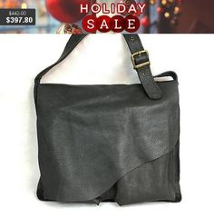 Beautiful Handmade Oversized Black Leather Bag. Messenger Bag.