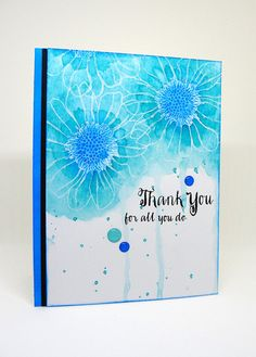 Thank you; floral; loose watercolor; emboss resist; big flower; daisy; Gerbera daisy; pretty; quick