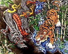 "India: the ""Contest of the Century"" Dragon Tiger Tattoo, Tiger Dragon, 3d Tattoos, Tatoos, Tattoo Painting, Dark Art Tattoo, Japanese Tattoo Art, Japan Tattoo, Koi"