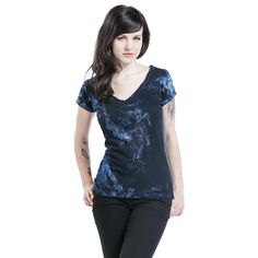 "Outer Vision Camiseta, Mujer ""Mild"" Azul • EMP"