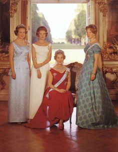 Queen Ingrid of Denmark with her daughters, Queen Margrethe, Queen Anne-Marie of Greece, and Princess Benedikte.