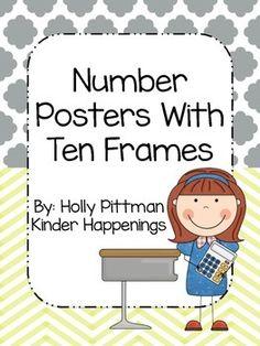 Ten Frame Posters by Kinder Happenings