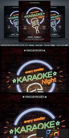 1808287 Karaoke Night Neon Party Flyer 3470746   Free download Photoshop Action, Lightroom Preset, PSD Template, Mockup, Vector, Stock, Font... Google Drive links. Neon Party, Xmas Party, Google Drive Logo, Flyer Size, Vector Free Download, Festival Posters, Free Logo, Party Flyer, Print Templates