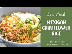 Low Carb Mexican Cauliflower Rice is a healthy, paleo, keto friendly, vegan side dish recipe, thats bursting with mexican flavours and ready in 30 minutes! Low Carb Recipes, Diet Recipes, Vegetarian Recipes, Cooking Recipes, Healthy Recipes, Veggie Recipes, Cauliflower Recipes, Cauliflower Rice, Slow Carb Diet