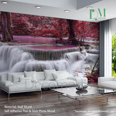 Waterfall Wall Mural, Ocean coast Self Adhesive Peel