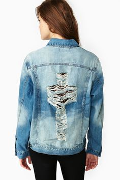 Torn Cross Denim Jacket