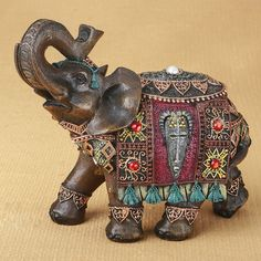 Looking for a unique gift for an elephant collector friend? They will be thrilled with this magnificent Indian elephant ornament!The elephant is made from poly resin a Elephant Sculpture, Lion Sculpture, Decorative Objects, Decorative Pillows, Red Jewel, Elephant Figurines, Elephant Gifts, Elephant Stuff, Elephant Jewelry