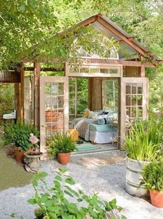 On our wish list? A rustic outdoor reading nook full of light.