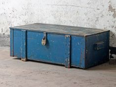 An iconic industrial vintage blue chest which Scaramanga acquired from an engineering workshop close to our HQ. Blue Chests, Salvaged Doors, Vintage Windows, Architectural Salvage, Vintage Industrial, Storage Solutions, Vintage Furniture, Wood Projects, Storage Chest