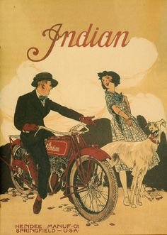 Vintage Indian Motorcycle Poster 11 x 17 Giclee print Old Posters, Images Vintage, Vintage Advertising Posters, Vintage Travel Posters, Vintage Advertisements, Vintage Ads, Retro Posters, Vintage Artwork, Bike Poster