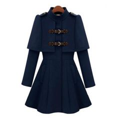 All-Match Solid Color Stand Collar Faux Cappa Waisted Buckle Long Sleeves Coat For Women, DEEP BLUE, S in Jackets & Coats | DressLily.com
