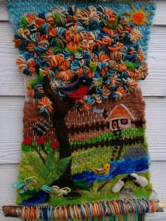 Tapestry Weaving, Loom Weaving, Woven Wall Hanging, Fabric Art, Handmade Crafts, Textile Art, Crochet Stitches, Lana, Macrame