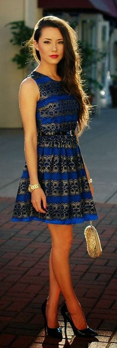 Black And Blue Brocade Dress With Black Heel Shoes