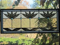 Leaded Cottage Style Stained Glass Waterlily Transom