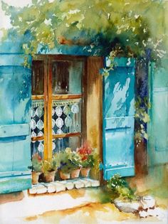 Image in love watercolor collection by Mohamed Abo El Yazid Watercolor Artists, Watercolor Landscape, Watercolour Painting, Painting & Drawing, Watercolours, Love Art, Painting Inspiration, Mail Art, Art Projects