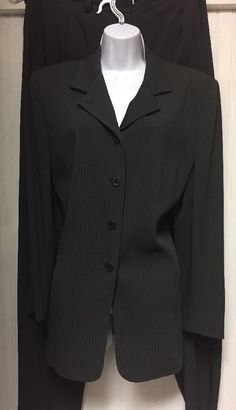 GARFIELD MARKS WOMENS CHARCOAL GRAY PINSTRIPE BUSINESS PANT SUIT SIZE 14  | eBay