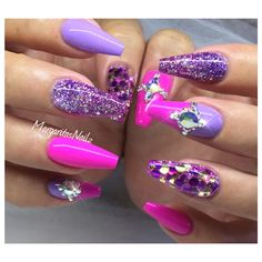 Pink And Purple Coffin Nails by MargaritasNailz