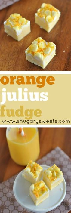 Orange Julius Fudge: tastes like the drink in a delicious, creamy fudge! by valerie Fudge Recipes, Candy Recipes, Sweet Recipes, Cookie Recipes, Dessert Recipes, Yummy Recipes, Orange Julius, Homemade Fudge, Homemade Candies