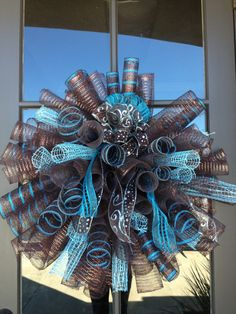 Spiral Deco Poly Mesh wreath Chocolate and Turquoise #decomesh #wreath #turquoise #chocolate