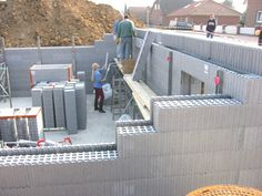 ICF Insulating Concrete Forms are formwork for concrete that stays in place as permanent building insulation for energy-efficient, cast-in-place, reinforced concrete walls, floors, and roofs. Concrete Building Blocks, Concrete Houses, Framing Construction, Brick Construction, Construction Materials, Insulated Concrete Forms, Structural Insulated Panels, Icf Blocks, Hotel Floor Plan