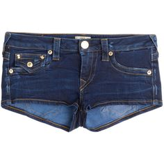 True Religion Joey Cut-Off Denim Shorts ($130) ❤ liked on Polyvore featuring shorts, bottoms, pants, short, blue, blue shorts, blue short shorts, denim shorts, cut off jean shorts and cut off denim shorts