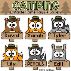 Your classroom door, bulletin boards and lockers will be the talk of the school when you use these fun camping theme name tags and labels to decorate! These would make great bin or basket labels, locker labels, job cards and name tags.
