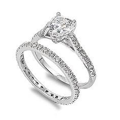 Hina's 2CT Vintage Pave Heart Shape CZ Wedding Ring Set