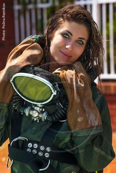 Women's Diving, Diving Suit, Scuba Diving Gear, Gas Mask Girl, Diving Wetsuits, Scuba Girl, Full Face Mask, Catsuit, Mirrored Sunglasses