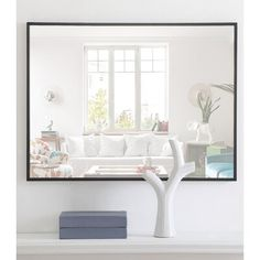 Three Posts Eternity Beveled Accent Mirror Finish: Black, Size: x Mirror Brackets, Mirror With Hooks, Metal Mirror, Beveled Mirror, Eclectic Wall Mirrors, White Wall Mirrors, Contemporary Wall Mirrors, Modern Contemporary, Single Bathroom Vanity