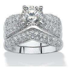 3.20 TCW Cubic Zirconia Platinum over Sterling Silver Wedding Ring Set ($100) ❤ liked on Polyvore featuring jewelry, rings, jewelry & watches, white, wedding rings, sterling silver rings, bridal rings, bow ring and platinum wedding rings