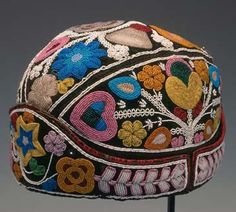"""Hat Munsee Delaware c. 1850 trade cloth with ribbon and beads 5 ВЅ"""" height x 6"""" width David Cook Gallery"""