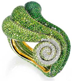 De Grisogono's Bangle of Green Tsavorites, Green Sapphires & Emeralds