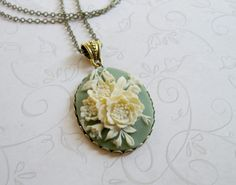Vintage Green Cameo Necklace long by botanicalbird on Etsy