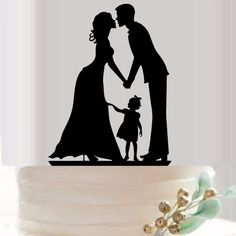 Bride and Groom Acrylic Silhouette Wedding Cake Topper - Wedding Look