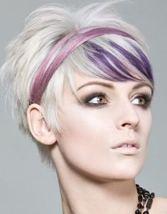 I love the cut and color. Purple Platinum Short Bob Pixie Hair Style Cut.