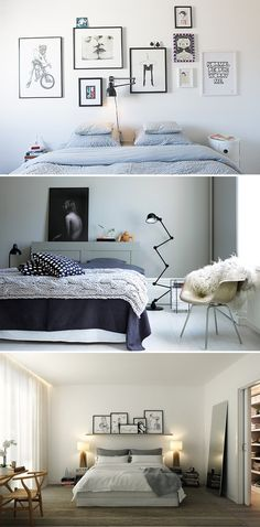 Interior design: Take away gallery styled walls, with asymmetric layout or with a stand Ideas Dormitorios, Frame Layout, Interior And Exterior, Interior Design, Above Bed, Closet Bedroom, Little Houses, Sweet Home, Sweet Sweet