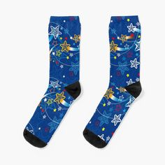 My Socks, Crew Socks, Royal Blue Background, Patterned Socks, Designer Socks, Shooting Stars, Star Patterns, Blue Backgrounds, Looks Great