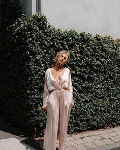 So when and decide to do a collab we sit up and take notice! This silk jumpsuit is perfect for wedding-day rituals and honeymoon lounging and we are in love! Unique Outfits, Classy Outfits, Stylish Outfits, Beautiful Outfits, Cool Outfits, Fashion Outfits, Womens Fashion, Girly Outfits, Fashion Trends