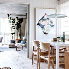 A Mediterranean style beach cabin decorated by Melbourne couple Simone and Rhys Haag.
