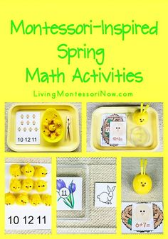 Links to lots of free spring printables and ideas for spring math activities for preschoolers through first graders; including Easter printables and activities - Living Montessori Now Montessori Education, Montessori Classroom, Montessori Activities, Homeschool Math, Learning Activities, Activities For Kids, Homeschooling, Preschool Learning, Curriculum