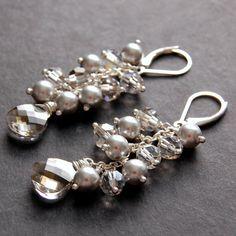 Bridal Earrings Silver Pearl and Swarovski by GreenRibbonGems