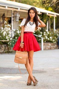 #red #skirt