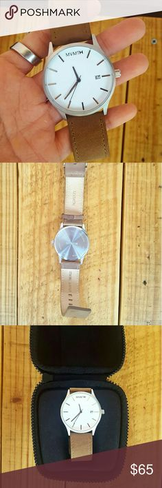 MVMT WATCH & CASE *white face w/ stainless steel back  *tan genuine leather strap *euc (only worn a handful of times) *comes with case *comes from a Smoke-FREE home MVMT  Accessories Watches