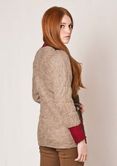 Ethnic tribal Cardigan felted neutral cardigan by texturable, $200.00