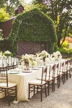 barn wedding reception table layout and decor - rustic mountain wedding and reception
