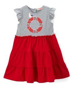 75daffe15 Loving this Gray   Red Lifesaver Angel-Sleeve Dress - Infant