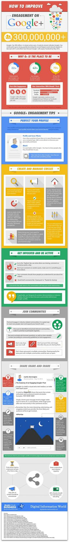 5 ways to increase engagement on Google+ #Infographic | via #BornToBeSocial - Pinterest Marketing