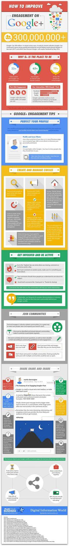 5 ways to increase engagement on Google+ #Infographic   via #BornToBeSocial - Pinterest Marketing