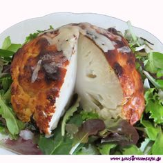 gebackener Blumenkohl im Ofen Rezept für Blumenkohl, der in einem Joghurtmantel gebacken wird vegetarisch glutenfrei