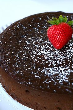 Flourless chocolate cake. This is so delicious! Just eggs, butter, and chocolate chips!